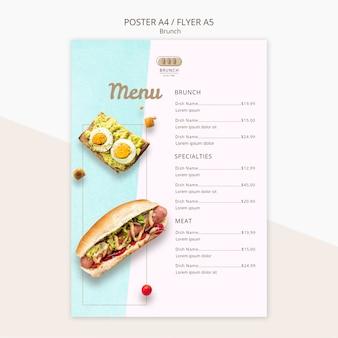Modelo de menu para restaurante brunch