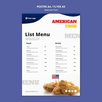 Modelo de menu para restaurante de comida americana
