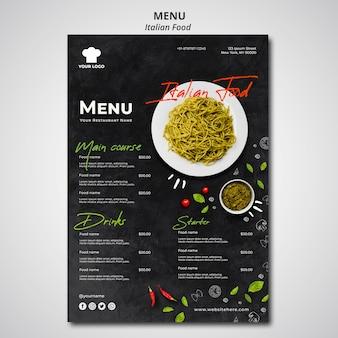 Modelo de menu para restaurante de comida italiana tradicional