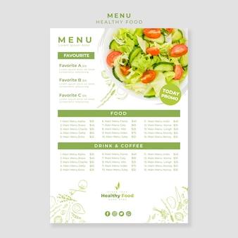 Modelo de menu vertical de restaurante de comida saudável