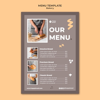 Modelo de menu vertical para padaria