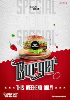 Modelo de mídia social a4 hambúrguer especial apenas neste fim de semana