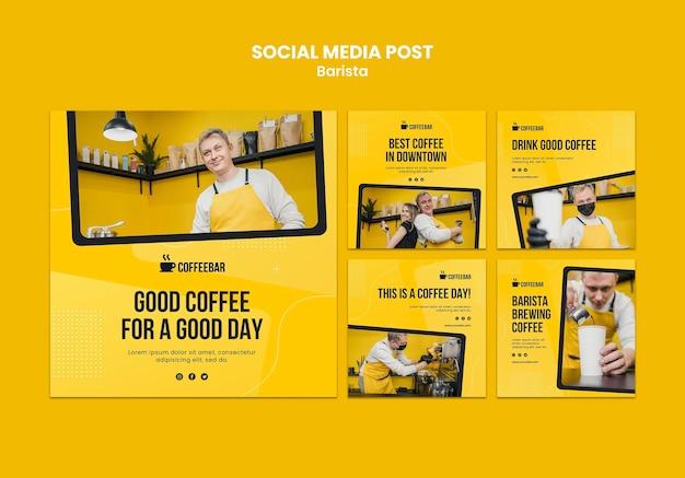 Modelo de mídia social barista