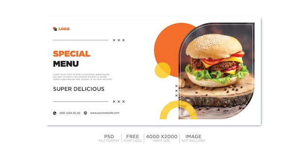 Modelo de mídia social de banner de venda de comida horizontal. psd premium