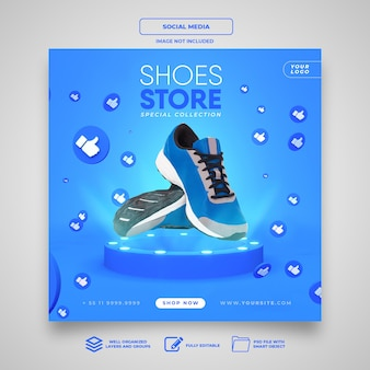 Modelo de mídia social de banner instagram para loja de sapatos