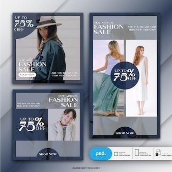 Modelo de mídia social de banner web moda