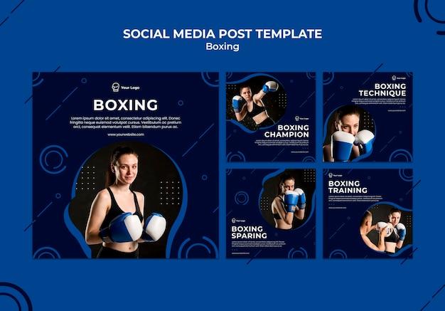 Modelo de mídia social de box treino esporte