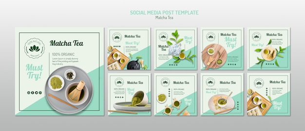Modelo de mídia social de chá matcha