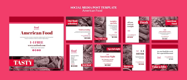 Modelo de mídia social de comida americana