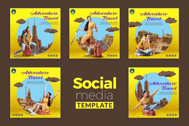 Modelo de mídia social de conceito de viagens