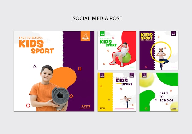 Modelo de mídia social de esporte de crianças