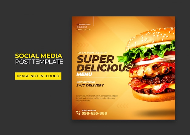 Modelo de mídia social de hambúrguer de fast food psd premium