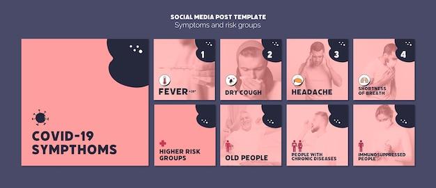 Modelo de mídia social de sintomas e riscos