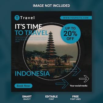 Modelo de mídia social de viagens de turismo