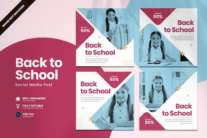 Modelo de mídia social de volta à escola