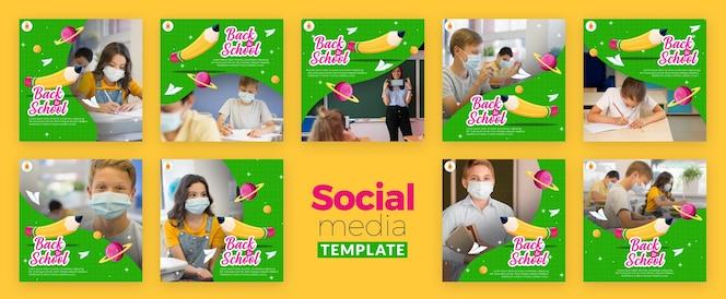 Modelo de mídia social de volta às aulas