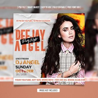 Modelo de mídia social dj party flyer psd premium