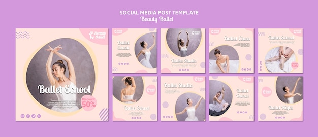 Modelo de mídia social do dia do balé