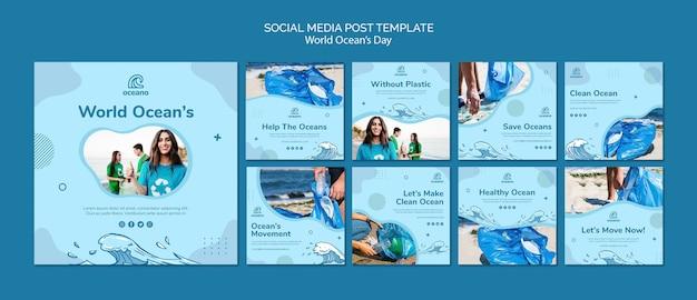 Modelo de mídia social do dia mundial do oceano