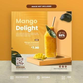 Modelo de mídia social do menu mango delight