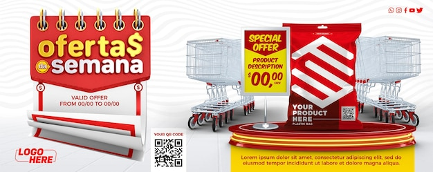 Modelo de mídia social facebook cover ofertas semanais de supermercado no brasil