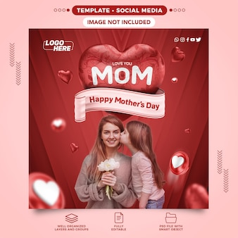 Modelo de mídia social feliz dia das mães para a composição do coração