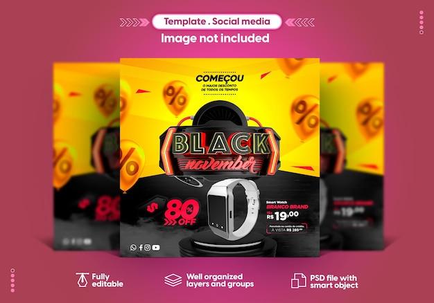 Modelo de mídia social instagram black novembro vendas de produtos