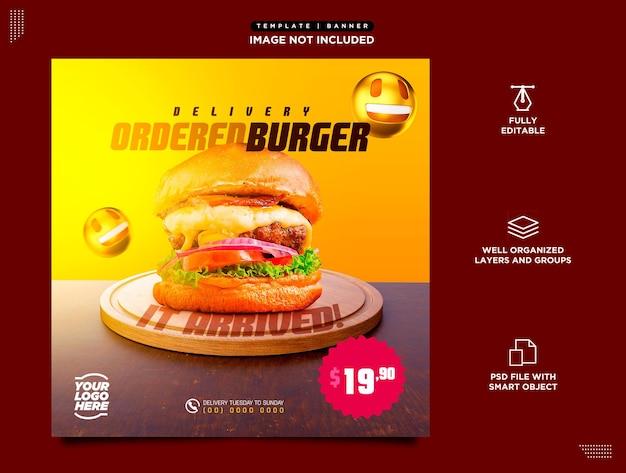 Modelo de mídia social instagram feed psd para entrega de hambúrguer e comida