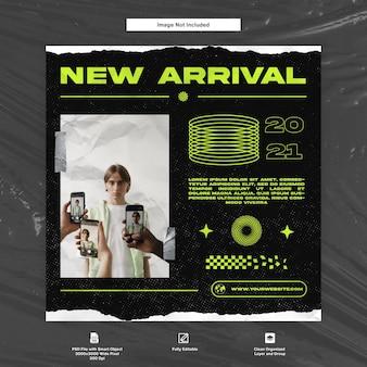 Modelo de mídia social neon green future edgy streetwear e vestuário instagram