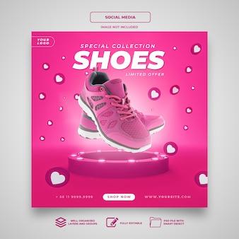 Modelo de mídia social para coleção especial de sapatos instagram banner