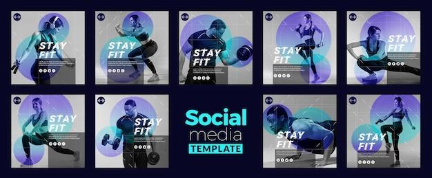 Modelo de mídia social para ficar em forma
