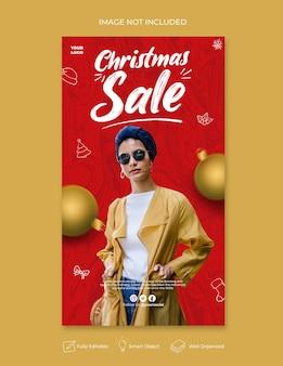 Modelo de mídia social para loja de feliz natal e histórias do instagram