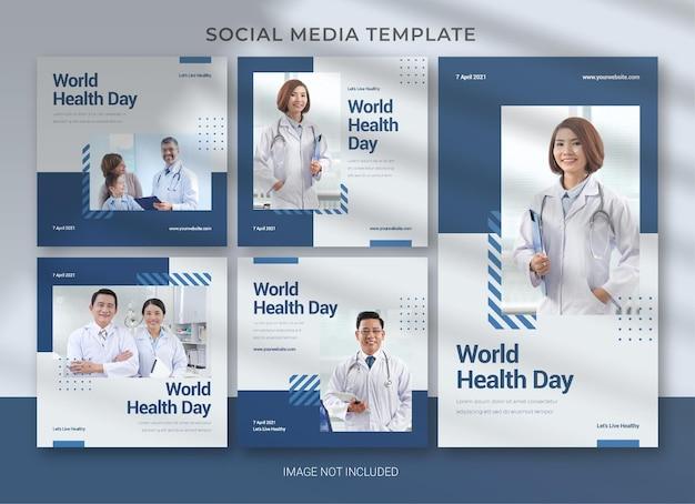 Modelo de mídia social para o dia mundial da saúde