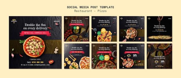 Modelo de mídia social para restaurante de pizza