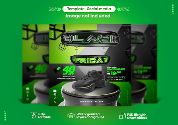 Modelo de mídia social para vendas de produtos da black friday no instagram