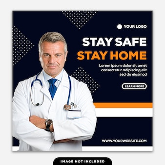 Modelo de mídia social post square banner coronavirus fique seguro