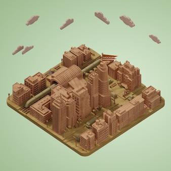 Modelo de miniaturas de cidades 3d maquete