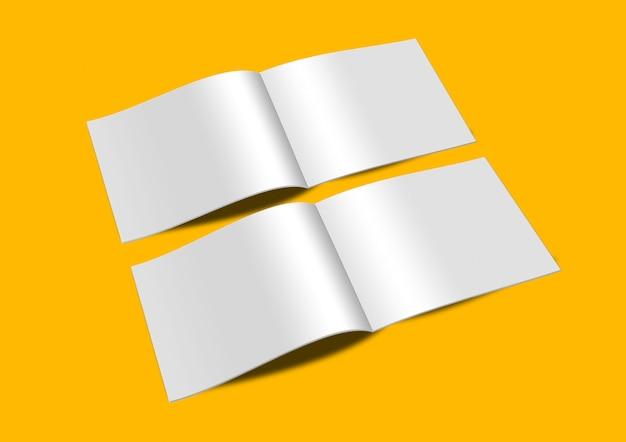 Modelo de mock-up de páginas abertas da paisagem