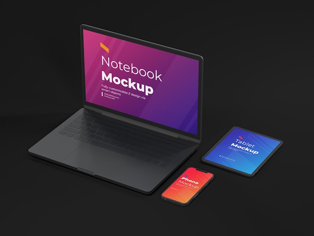 Modelo de mockup para celulares e laptops de dispositivos digitais