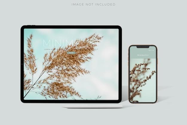 Modelo de mockups de tela de dispositivo digital para ipad pro, iphone 12 para apresentação de marca, identidade corporativa, publicidade, negócios de marca