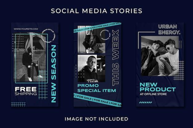 Modelo de moda de rua de história em mídia social