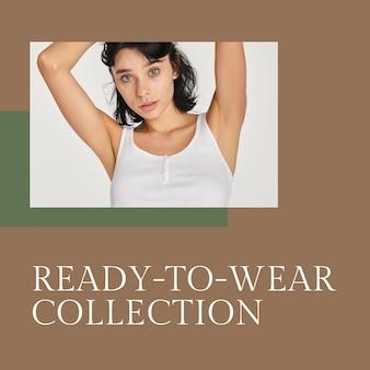 Modelo de moda psd para coleção pronta para vestir