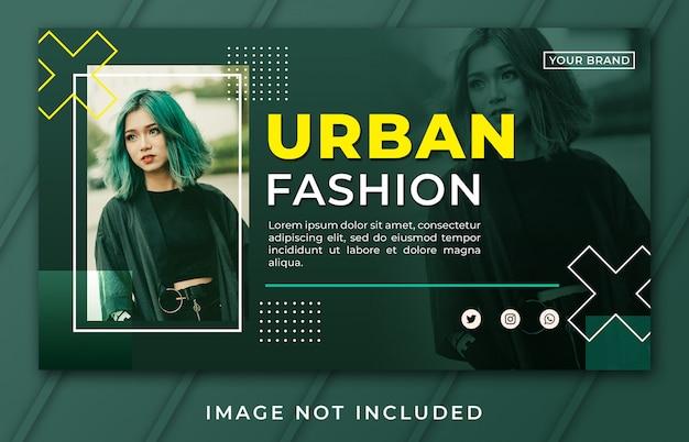 Modelo de moda urbana de banner de página de destino