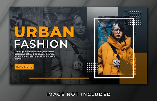 Modelo de moda urbana de banner landing page