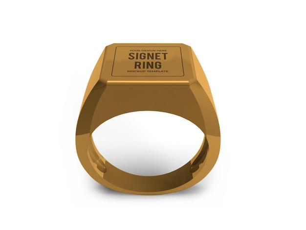 Modelo de modelo de anel de sinete dourado realista isolado