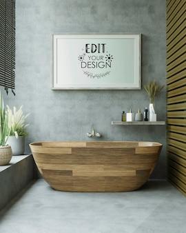 Modelo de moldura de pôster no interior do banheiro