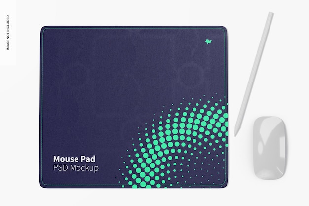 Modelo de mouse pad retangular, vista superior