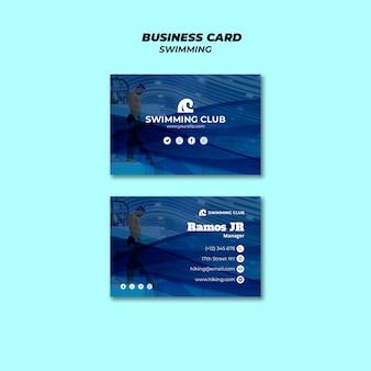 Modelo de natação para cartão de visita