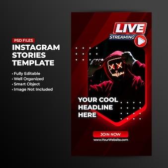 Modelo de néon retro com streaming ao vivo para postar histórias em mídias sociais no instagram