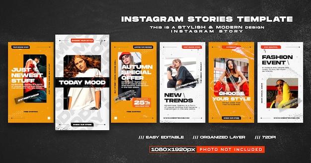 Modelo de novas tendências de histórias do instagram